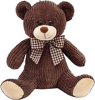 Plush Dark Brown Corduroy Teddy Bear - 11 Inch Sitting