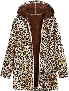 Dawwoti Women's Leopard Jacket Hooded Casual Outwear