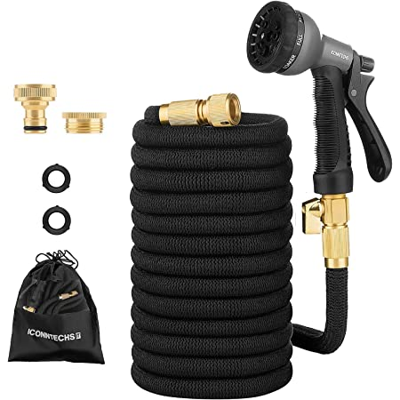 """ICONNTECHS 15M/50FT Expandable Garden Hose With Double Core Latex, 3/4"""" & 1/2"""" Solid Brass Fittings, Non-Kink Extra Strength Fabric, Water Hose with Shut Off Valve, 8 Pattern Functions Spray Nozzle"""