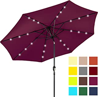 Best Choice Products 10-Foot Solar Powered Aluminum Polyester LED Lighted Patio Umbrella w/Tilt Adjustment and Fade-Resistant Fabric, Burgundy