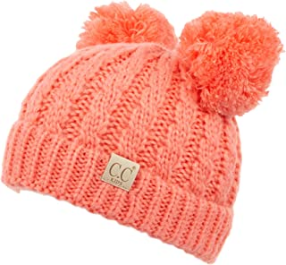 Hatsandscarf C.C Exclusives Kids Ages 2-7 Warm Chunky Thick Stretchy Knit Beanie with Double Pom