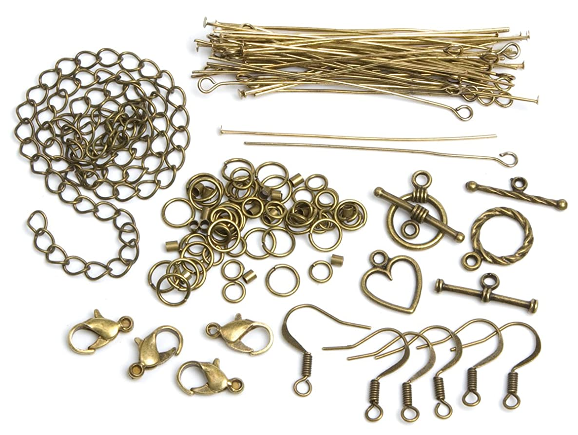 Cousin Jewelry Basics 145-Piece Starter Pack, Antique Gold