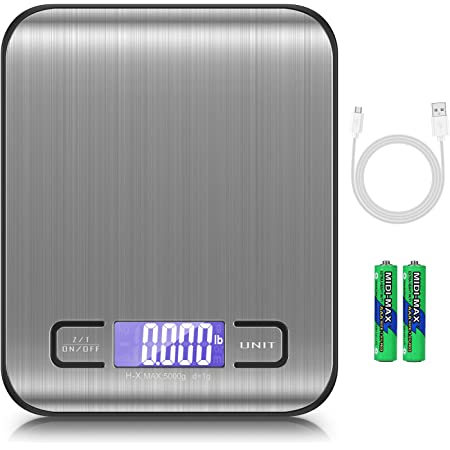 AMIR Brifit Balance de Précision, 5KG/1g Balance de Cuisine electronique, Balance de Poche avec Chargement USB, avec Écran LCD, Balance Alimentaire pour Desurer Ingrédients, Aliments ou Liquides