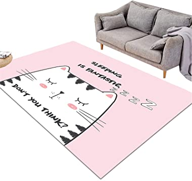 Rectangle Area Rugs for Living Room Accent Rug Bedroom Floor Rug Accent Area Carpet (Color : Pink cat, Size : 152cm×244cm)