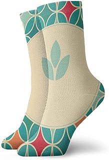 Pengyong, Pengyong - Calcetines Deportivos para Hombre y Mujer, diseño Retro de Hojas Azules