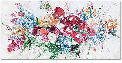 Handgeschilderd Olieverfschilderij - Moderne 3D Handgeschilderde Abstracte Kleurrijke Bloemen Olieverfschilderij Groot Pal...