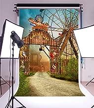 Laeacco Vinyl 5x7ft Photography Background Fantasy Circus Colorful Entrance Gate Clown Broken Carriage Theme Backdrops Portraits Shooting Video Studio Props