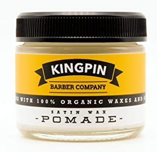 Organic Hair Pomade, Satin Finish, by Kingpin Barber Co. | All-Day Flexible Hold | Medium Shine | Signature Scent, 2.2oz.