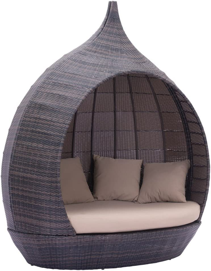 Modern Contemporary Max 89% OFF Classic Outdoor Patio Rattan Daybed Beige