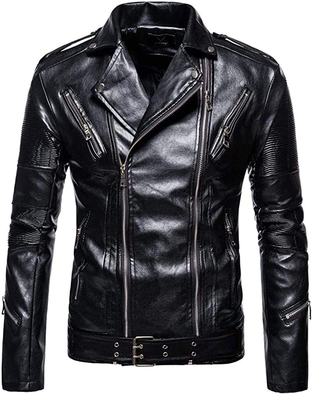 Men's Oblique Zipper Stylish Faux Leather Challenge the lowest price of Japan ☆ Biker Moto Slim Bargain sale Coat J