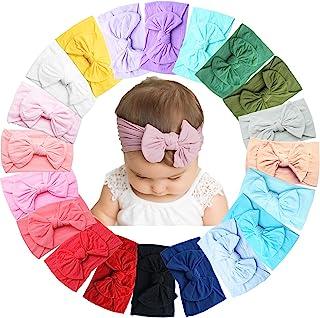 20 قطعة من اشرطة الراس المرنة للفتيات حديثات الولادة، مصنوعة من النايلون الناعم بمقاس 4.5 انش