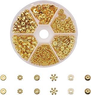 PandaHall Elite - 300 Pcs 6 Styles Perles Intercalaires Perles d'Espacement en Laiton Perles Doré Accessoires de Bijoux po...