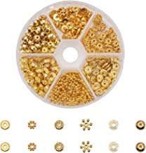 PH PandaHall 1 Box 300 PCS 6 Style Golden Brass Bead Spacers Jewelry Findings Accessories for Bracelet Necklace Jewelry Making