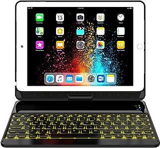 iPad Keyboard Case 9.7 for iPad 6th Gen 2018 - iPad 5th Gen 2017 - iPad Pro 9.7 - Air 2/ Air 1, 360 Rotate 7 Color Backlit Wireless iPad 9.7 inch Case with Keyboard, Auto Sleep Wake, Black