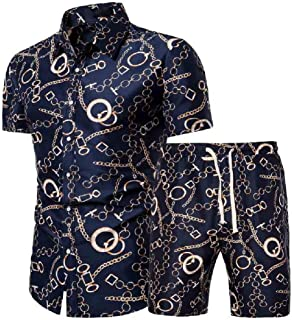 SportsX Mens Summer 2 Piece Set Plus-size Floral Blouse + Bodycon Shorts Pants