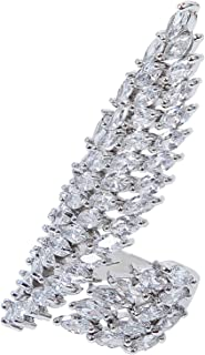 MOONSTONE Fashion Ring For Women Asymmetric Wing Marquise Cut Crystal, Adjustable Size, Silver