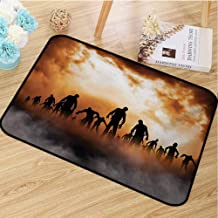 hengshu Halloween Commercial Grade Entrance mat Zombies Dead Men Walking Body in The Doom Mist at Night Sky Haunted Theme Print for entrances garages patios W29.5 x L39.4 Inch Orange Black