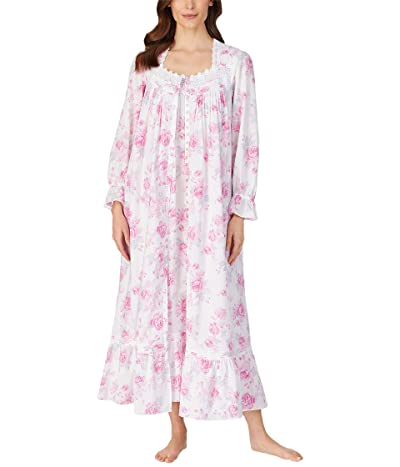 Eileen West Cotton Lawn Woven Long Sleeve Ballet Nightgown (White Ground Rose Floral) Women