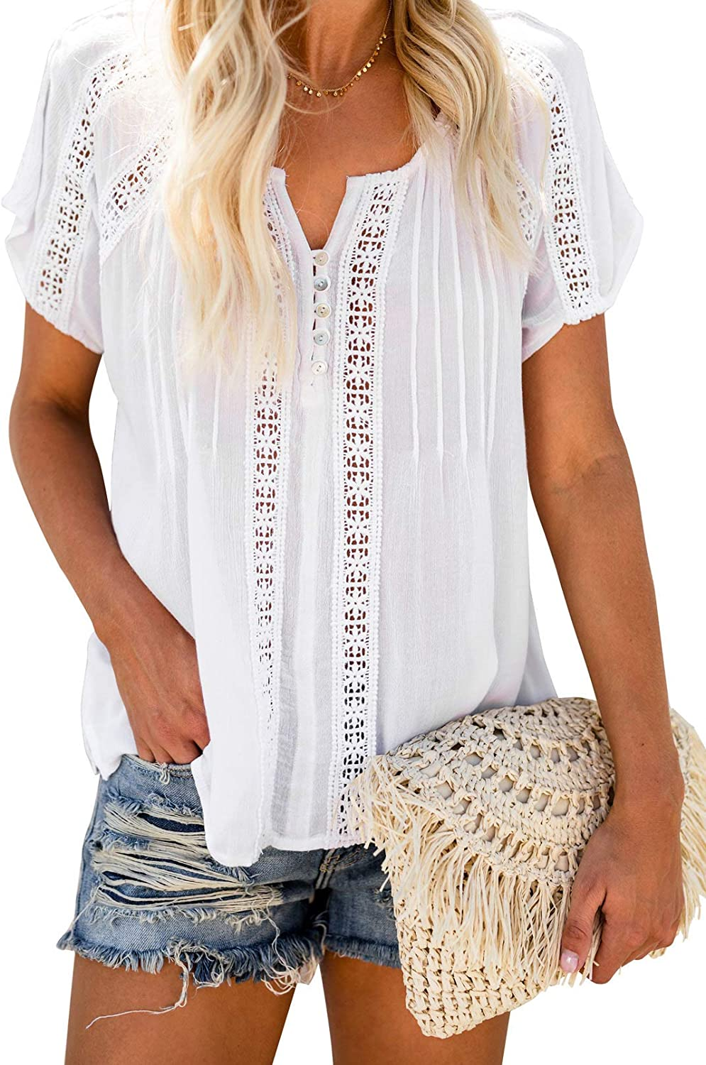 Paitluc Womens Lace Crochet Eyelet Button Down Womens Summer Tops and Blouses S-XXL