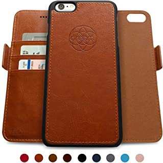 Dreem Fibonacci 2-in-1 Wallet-Case for iPhone 6-Plus & 6s-Plus, Magnetic Detachable Shock-Proof TPU Slim-Case, RFID Protection, 2-Way Stand, Luxury Vegan Leather, Gift-Box - Caramel