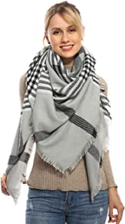 Stylish Plaid Blanket Oversized Cozy Scarf - Chunky Tartan Wrap Shawl, 2019 New Color
