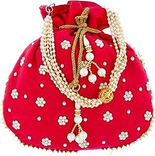Kuber Industries Ethnic Clutch Silk Potli Batwa Pouch Bag with Beadwork Gift For Women (Rani) - CTKTC23086