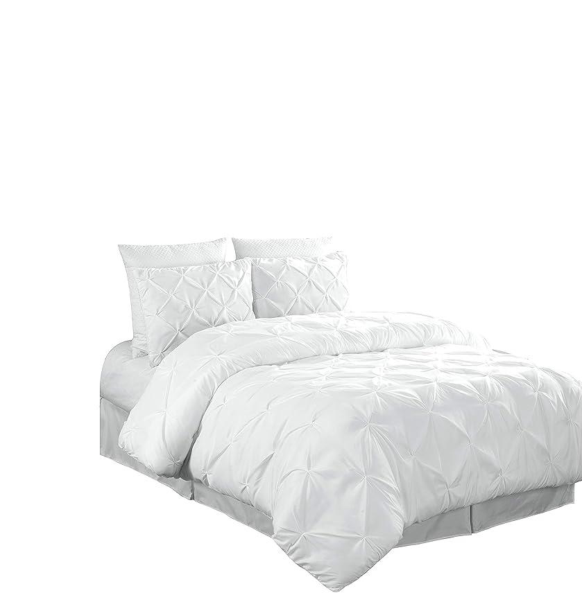 Chezmoi Collection Berlin 3-Piece Pintuck Pinch Pleat Comforter Set (King, White)