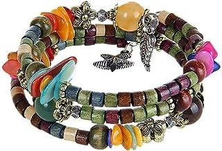 MJARTORIA Femme Bijoux Bracelet Tibétain Perles Bois Multi Rangs Multicolore (orange)