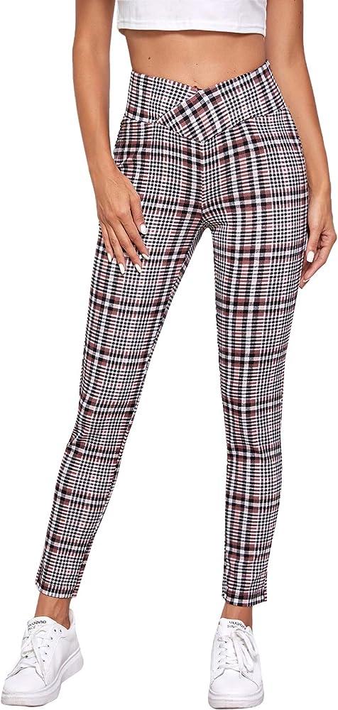 Soly hux, pantaloni da donna a quadretti, con elastico in vita,95% poliestere, 5% elastan 07200811758-12-14-XS