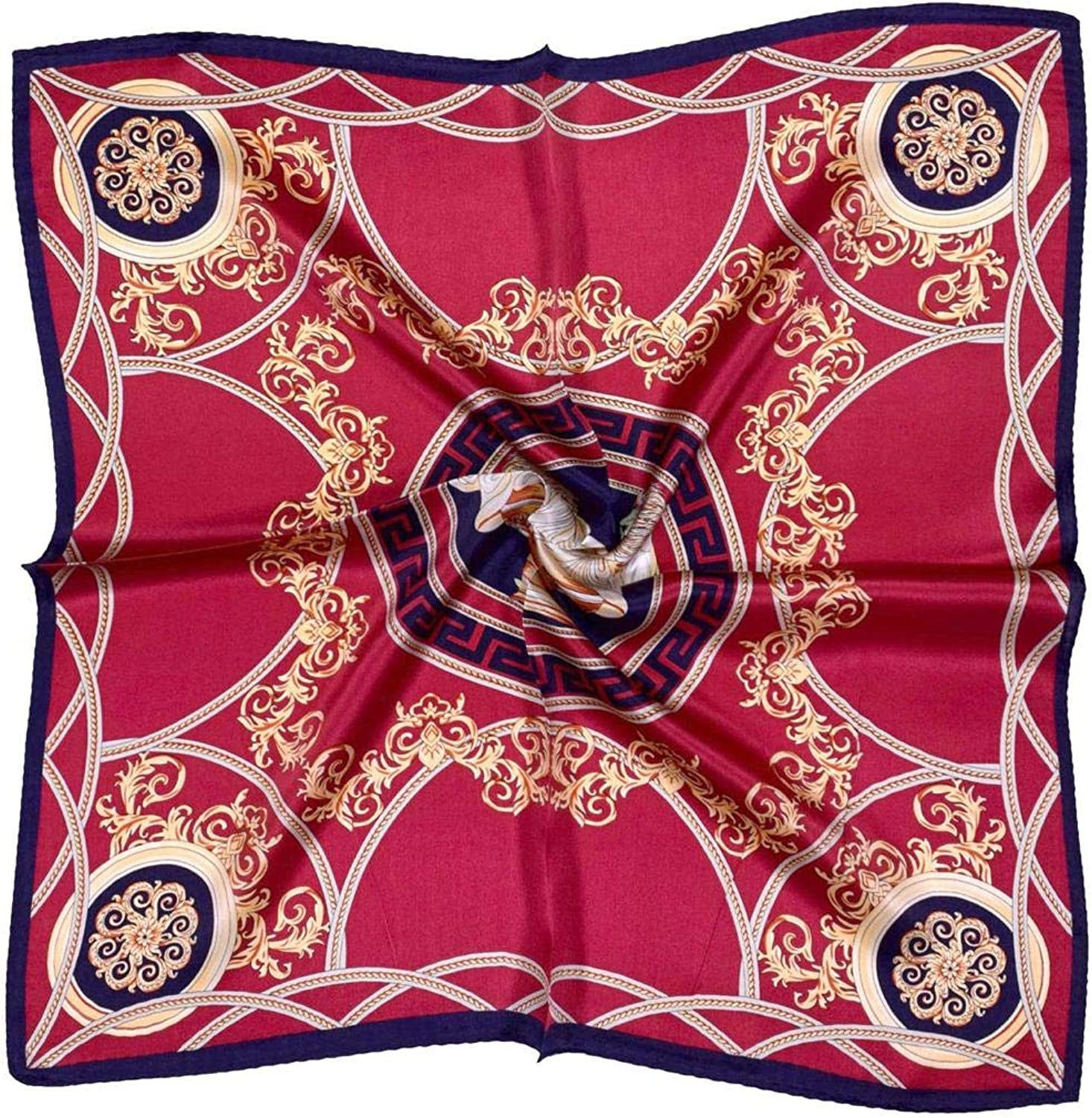 Deep Red gold Classic Print Design Small Thick Silk Square Scarf