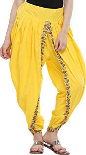 Nika Women's Cotton Aari Embroidered Dhoti Salwar by Kaanchie Nanggia (DH933_Yellow_Freesize)