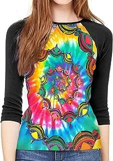 Womens Baseball T-Shirt Spiral Sharks Head Tie Dye Shark 3D Print 3/4 Sleeve Half Sleeve Tee Top Hip Hop Sports