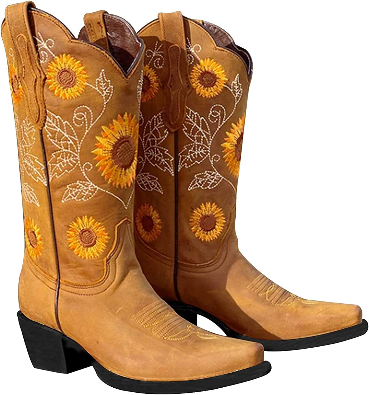 SO SIMPOK Women's Embroidered Printed Glitter Western Cowgirl Boots Retro Round Toe Mid Calf Chunky Heel Boots
