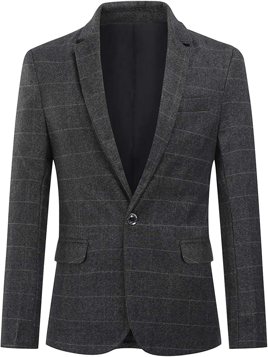 Mens Plaid Suit Blazer Slim 1 Button Purple Khaki Wedding Prom Sport Coat Jacket