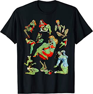 Zombie Pin Up Girl Halloween Sassy Cute Collage Apocalypse T-Shirt