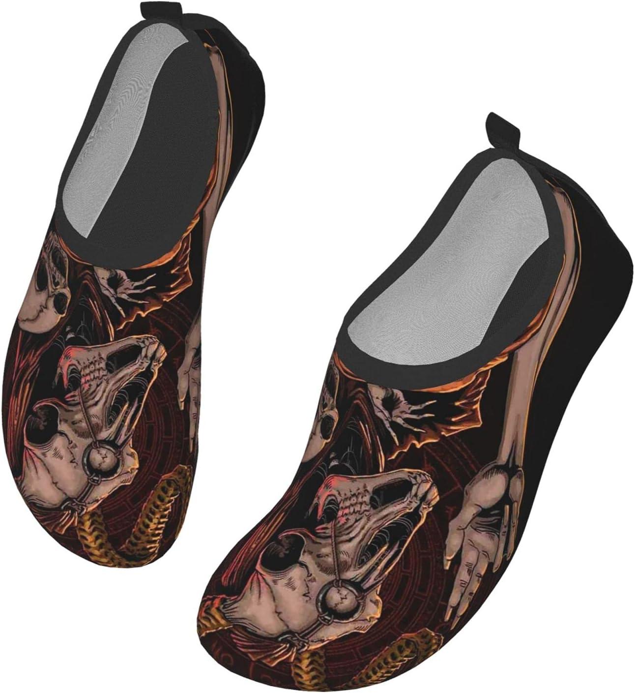 Womens Mens Summer Water Shoes Baphomet Satanic Goat Head Baby Skull Barefoot Shoe Quick Dry Aqua Socks