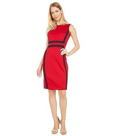 Calvin Klein Color-Block Sheath Dress (Red/Black) Women