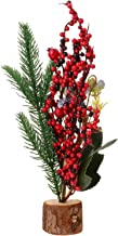 TOYANDONA Mini Artificial Christmas Tree Tabletop Red Berry Stem Picks Holly Berry Branches for Holiday Seasonal Xmas Tabl...