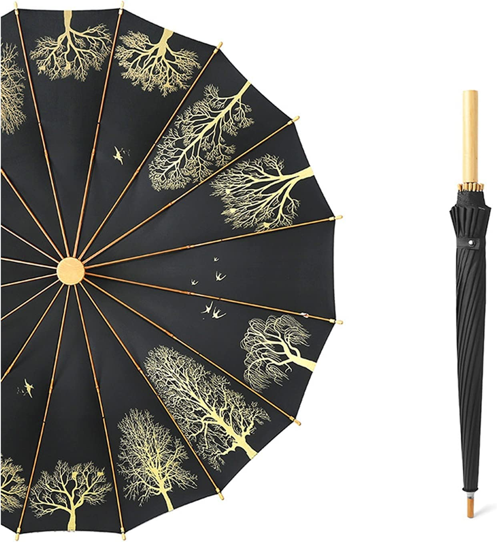 Long Handle Parasol New products, world's highest quality popular! 16-Bone Straight H Umbrella Retro Wooden mart Art