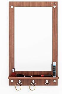 Anikaa Kia Dressing Table/Wall Mirrorwith Shelves and Hanging Hook (Walnut)