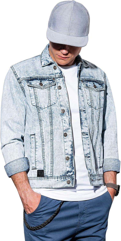 Ombre Chaqueta Vaquera de Transición para Hombre con Cierre de Botones Cazadora Deportiva Jeans Denim con Bolsillos 3 Colores Disponibles S-XXL