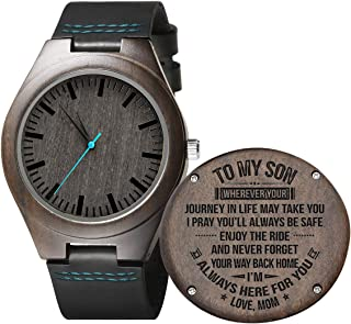 Engraved Wooden Watches for Men,Customized Personalized Leather Strap Wood Wristwatch for Son Husband Boyfriend
