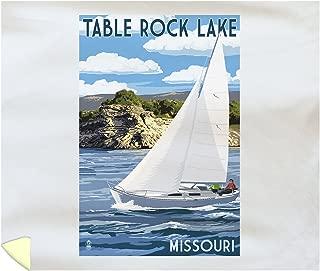 Lantern Press Table Rock Lake, Missouri - Sloop Sailboat and Lake 51850 (88x104 King Microfiber Duvet Cover)