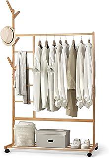 amzdeal Porte-Manteau en Bambou - Portant Penderie Vêtements, avec Compartiments à Pantalon et Une Etagère de Rangement In...