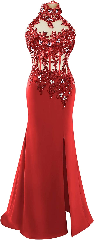 JudyBridal Women High Illusion Neckline Prom Wedding Dress Sleeveless Lace Bridal Party Evening Dress
