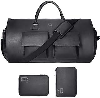 Garment Bag Duffel Bag Microfiber Leather Carry on Suit Travel Bag with Digital Pocket and Wash Pocker Weekend Bag with Shoe Pouch for Men (Black)