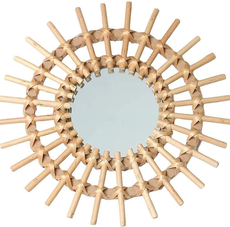OMKMNOE Espejo De Pared Redondo Decorativo, Espejo Grande Redondo para Sala De Estar, Vestidor, Baño Y Dormitorio, Creativo Nórdico Naturaleza Vid Hecha A Mano Espejo,Marrón