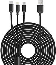 Multi USB Charger Cable, Rocketek 10ft 3-in-1 Nylon Braided Fast Charger Cord Connector with iOS/Type C/Micro USB Port Adapter for Phones/Tablets/Samsung Galaxy/Google Pixel/LG and More