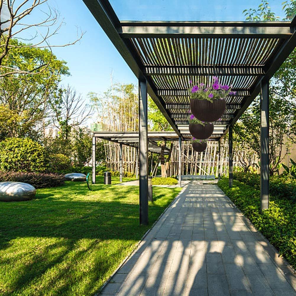 SHKY Cesto Colgante Redondo de plástico Maceta Colgante Balcón Jardín Jardinera Decoración para el hogar Paquete de 3, para Plantas de jardín al Aire Libre,White: Amazon.es: Hogar