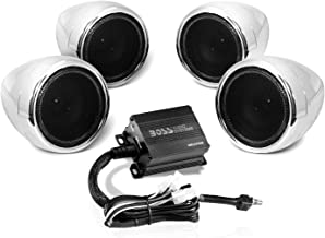 Boss Audio Systems MC470B Motorcycle Bluetooth Speaker System - Class D Compact Amplifier, 3 Inch Weatherproof Speakers, Volume Control, Great for Use With ATVs and 12 Volt Vehicles